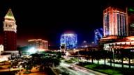 Macau, China-Nov 26,2014: The amazing view of Casinos at night in Macau, China video