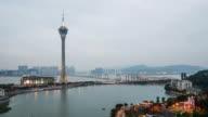 Macau Tower And Macau Bridge Landmark Place Of Macau China Day and Night Time video