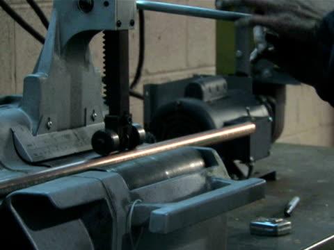 Machine Cutting Pipe, Close Up video