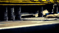 Machine is cutting sheet metal in automobile factory video
