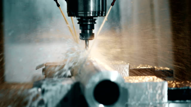 machine tool in metal factory with drilling cnc machines video
