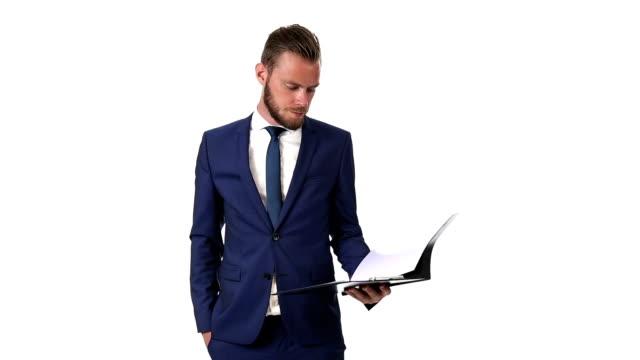 Macho businessman with folder video