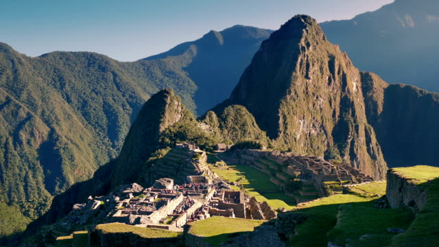 Machu Picchu In The Sun With People Walking Around video