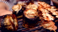 Mackerel and shrimps cooked on grill. Mackerel fish grilled on barbecue video