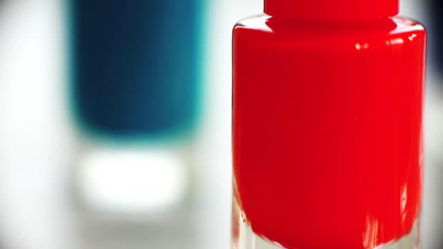 Macro bottles of nail varnish video