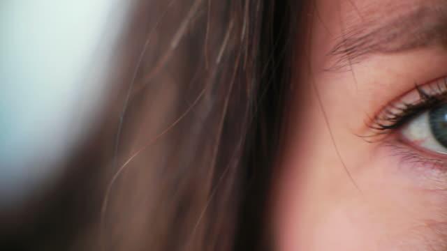 Macro Camera pans Womans Blue Eyes video