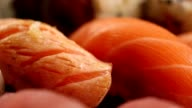 Macro close up of beautiful fresh salmon sushi video