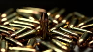Macro shot of 9 mm handgun Bullets. video