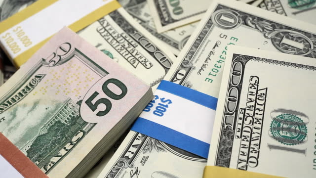 Macro U.S. money fly over video