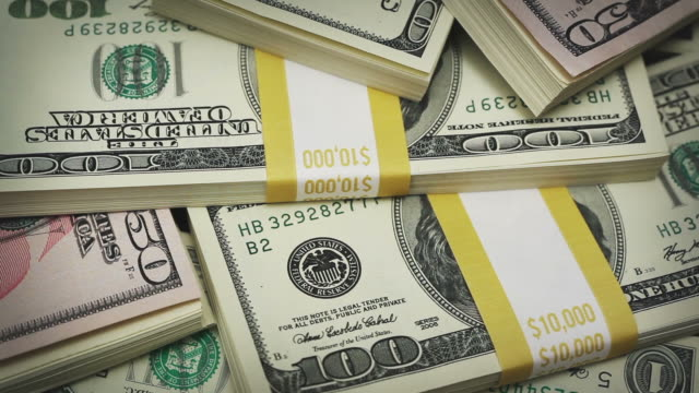 Macro U.S. money rotating video