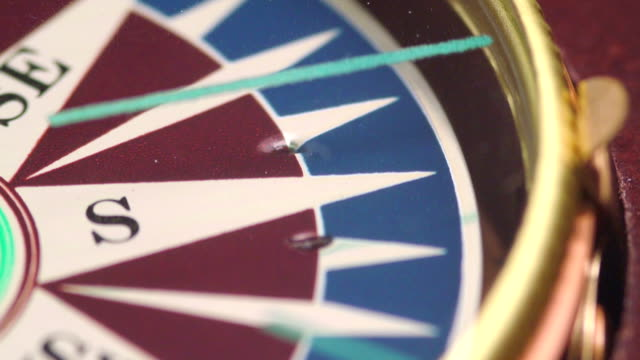 Macro video of compass in motion video