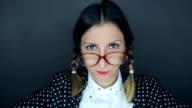 Mad nerd woman video