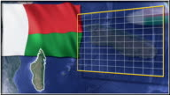 Madagascar flag and map animation video