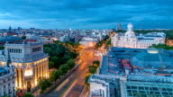 Madrid day to night timelapse, Beautiful Panorama Aerial View of Madrid Post Palacio comunicaciones, Plaza de Cibeles, Prueba, Banco de Espana, Calle de Alcala, Spain video