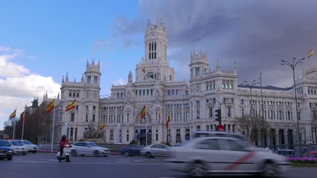 madrid night light plaza de la cibeles fountain 4k spain video