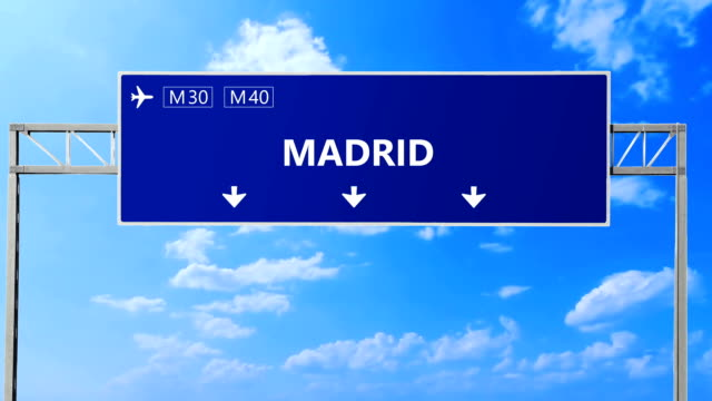 Madrid road signs. Madrid highway sign. video