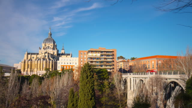 madrid sunny day almudena cathedral block panorama 4k time lapse spain video