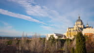 madrid sunny day park panorama almudena cathedral 4k time lapse spain video