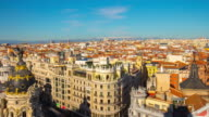 madrid sunny day roof panorama view on metropolis building 4k time lapse spain video