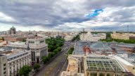 Madrid timelapse, Beautiful Panorama Aerial View of Madrid Post Palacio comunicaciones, Plaza de Cibeles, Prueba, Banco de Espana, Calle de Alcala and Light Trails from street car at Night, Spain video