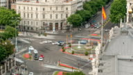 Madrid timelapse, Beautiful Panorama Aerial View of Madrid Post Palacio comunicaciones, Plaza de Cibeles, Spain video