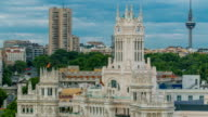 Madrid timelapse, Beautiful Panorama Aerial View of Madrid Post Palacio comunicaciones, Plaza de Cibeles, Cibeles Palace, Spain video