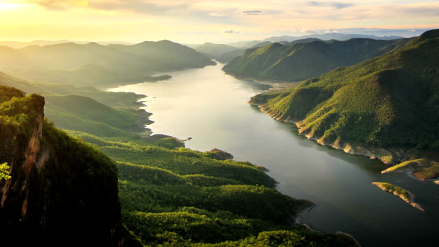 Mae ping national park at sunrise video