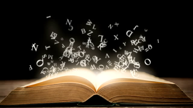 Magic book with animation glowing letters video