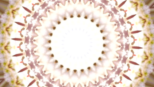 Magic circle kaleidoscopic pattern in spring colors. video