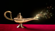 Magic lamp with sparkles video