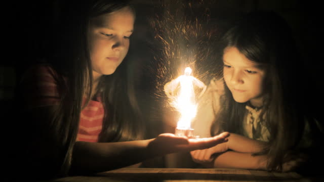 Magic scenes. Girls staring at flaming fairy. Fantasy series. video