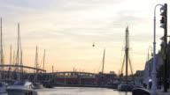 magic sunset barcelona port panorama 4k spain video