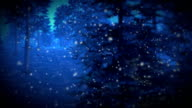 Magical fireflies in snowy forest at night video