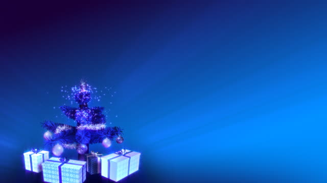 Magical Growing Christmas Tree. Blue background. Loopable between 17:00-26:00. video