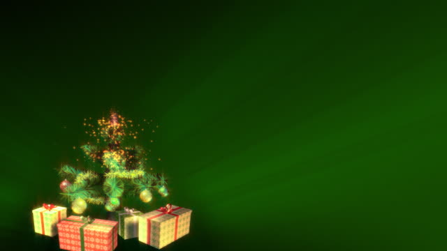 Magical Growing Christmas Tree. Green background. Loopable between 17:00-26:00. video