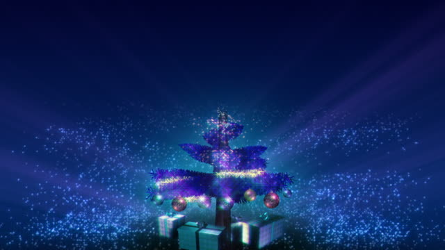 Magical Growing Christmas Tree with loopable section. Blue. video