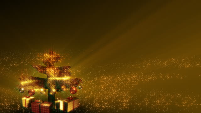 Magical Growing Christmas Tree with loopable section. Gold. video