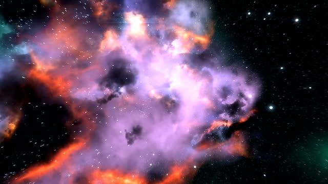 Magnificent space flight through colorful nebulas video