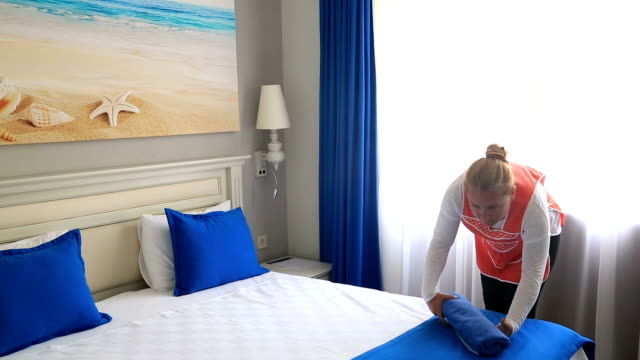 Maid Cleans The Room At The Hotel video