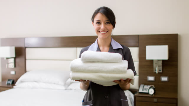 Maid working at a hotel video