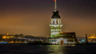 Maiden's Tower timelapse at night in Istanbul Turkey 2014 video