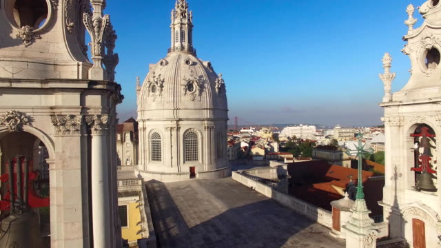 main facade of the Estrela Basilica in Lisbon at morning aerial view video
