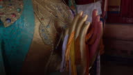 Maitreya Buddha hands in Thiksey Monastery or Thiksey Gompa at Leh Ladakh, Northern India video