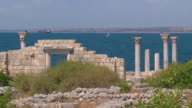 majestic ruins of an ancient temple on the seashore video