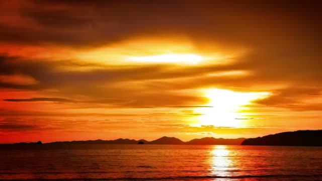Majestic sunset over sea video