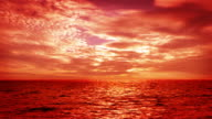 Majestic sunset over sea video