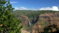 Majestic waterfall running down the magnificent Waimea canyon mountain wall video