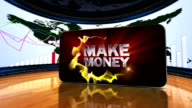 Make Money Symbol Text in Monitors and Green Screen video