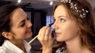 makeup artist doing makeup for model video