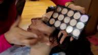 Make-Up Artist Preparing Model Backstage video